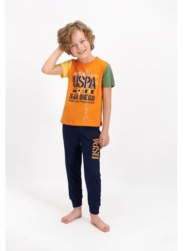 U.S. Polo Assn. Lisanslı Sandiego Lacivert Genç Erkek Kısa Kol Pijama Takımı Oranj